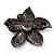 Stunning Purple Diamante Flower Brooch (Gun Metal Finish) - view 5