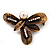 Vintage Bronze &#039;Leaf&#039; Crystal Brooch