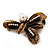 Vintage Bronze &#039;Leaf&#039; Crystal Brooch - view 2