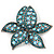 Large Light Blue/ Teal Diamante Floral Brooch/ Pendant (Silver Metal Finish)