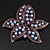 Large Lavender/Purple Diamante Floral Brooch/ Pendant (Silver Metal Finish)