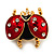 Red/Black Enamel Crystal Lady Bug Brooch In Gold Plated Metal - 2.3cm Length