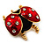 Red/Black Enamel Crystal Lady Bug Brooch In Gold Plated Metal - 2.3cm Length - view 6