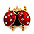 Red/Black Enamel Crystal Lady Bug Brooch In Gold Plated Metal - 2.3cm Length - view 7