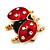 Red/Black Enamel Crystal Lady Bug Brooch In Gold Plated Metal - 2.3cm Length - view 8