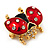 Red/Black Enamel Crystal Lady Bug Brooch In Gold Plated Metal - 2.3cm Length - view 9