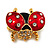 Red/Black Enamel Crystal Lady Bug Brooch In Gold Plated Metal - 2.3cm Length - view 3