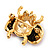 Red/Black Enamel Crystal Lady Bug Brooch In Gold Plated Metal - 2.3cm Length - view 4