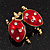 Red/Black Enamel Crystal Lady Bug Brooch In Gold Plated Metal - 2.3cm Length - view 2