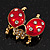 Red/Black Enamel Crystal Lady Bug Brooch In Gold Plated Metal - 2.3cm Length - view 5