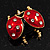 Red/Black Enamel Crystal Lady Bug Brooch In Gold Plated Metal - 2.3cm Length - view 10