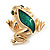 Small Green Enamel 'Frog' Brooch In Gold Plated Metal - 2.5cm Length