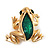 Small Green Enamel 'Frog' Brooch In Gold Plated Metal - 2.5cm Length - view 2
