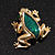Small Green Enamel 'Frog' Brooch In Gold Plated Metal - 2.5cm Length - view 8