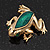 Small Green Enamel 'Frog' Brooch In Gold Plated Metal - 2.5cm Length - view 3