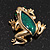 Small Green Enamel 'Frog' Brooch In Gold Plated Metal - 2.5cm Length - view 4