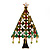Green Enamel CZ Crystal Christmas Tree Brooch In Gold Plating - 6.5cm Length - view 4