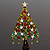 Green Enamel CZ Crystal Christmas Tree Brooch In Gold Plating - 6.5cm Length - view 2