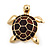 Gold Plated Brown Enamel 'Turtle' Brooch - view 3