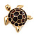 Gold Plated Brown Enamel 'Turtle' Brooch - view 4