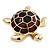 Gold Plated Brown Enamel 'Turtle' Brooch - view 6
