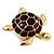 Gold Plated Brown Enamel 'Turtle' Brooch - view 7