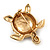 Gold Plated Brown Enamel 'Turtle' Brooch - view 5