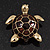 Gold Plated Brown Enamel 'Turtle' Brooch - view 8