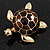 Gold Plated Brown Enamel 'Turtle' Brooch - view 2