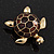Gold Plated Brown Enamel 'Turtle' Brooch - view 9