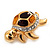 Small Crystal Enamel 'Turtle' Brooch In Gold Plated Metal - view 6