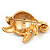 Small Crystal Enamel 'Turtle' Brooch In Gold Plated Metal - view 5