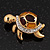 Small Crystal Enamel 'Turtle' Brooch In Gold Plated Metal - view 3