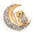 Clear Swarovski Crystal 'Owl On The Moon' Brooch In Gold Plated Metal - view 4