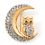 Clear Swarovski Crystal 'Owl On The Moon' Brooch In Gold Plated Metal - view 3