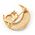 Clear Swarovski Crystal 'Owl On The Moon' Brooch In Gold Plated Metal - view 5