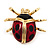 Black/Red Enamel Lady Bug Brooch In Gold Plated Metal - 3cm Length - view 2