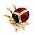 Black/Red Enamel Lady Bug Brooch In Gold Plated Metal - 3cm Length - view 7
