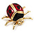 Black/Red Enamel Lady Bug Brooch In Gold Plated Metal - 3cm Length - view 5