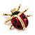Black/Red Enamel Lady Bug Brooch In Gold Plated Metal - 3cm Length
