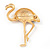 Crystal Enamel 'Flamingo' In Gold Plated Metal - view 6