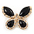 Black Enamel Diamante Butterfly Brooch In Light Gold Metal - 3cm Length