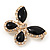 Black Enamel Diamante Butterfly Brooch In Light Gold Metal - 3cm Length - view 2