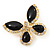 Black Enamel Diamante Butterfly Brooch In Light Gold Metal - 3cm Length - view 5