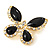 Black Enamel Diamante Butterfly Brooch In Light Gold Metal - 3cm Length - view 6