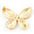 Black Enamel Diamante Butterfly Brooch In Light Gold Metal - 3cm Length - view 3