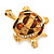 Light Gold Plated Enamel &#039;Turtle&#039; Brooch - view 4