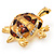 Light Gold Plated Enamel &#039;Turtle&#039; Brooch - view 3