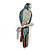 Oversized Multicoloured Enamel 'Parrot' Brooch In Silver Plated Metal - 10cm Length
