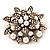 Bridal White Faux Pearl Floral Brooch In Antique Gold Plating - 5.5cm Diameter - view 3